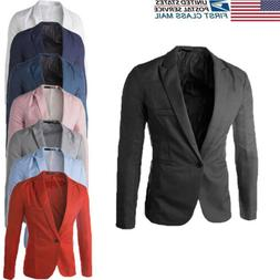 US STOCK Men's Suit Coat Regular Serge Blazer Button Busines