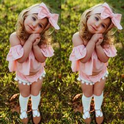 US STOCK Toddler Baby Girls Summer Pink Tops+Short Pants+Hea