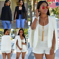 US Women Casual Lapel Split Long Sleeve Blazer Cape Coat OL