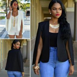 US Womens Casual Lapel Split Long Sleeve Blazer Cape Coat OL