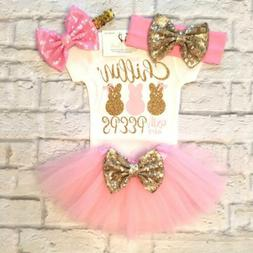 USA Newborn Baby Girls Bunny Romper + Tutu Skirt Dress Party