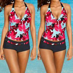 USA Women Tankini Sets Sporty with Boy Shorts Bikini Swimsui