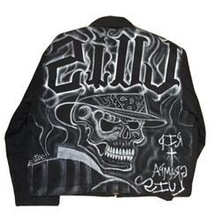 Vintage Dickies Jacket Sz XL Custom Air Brushed Graphic Skel