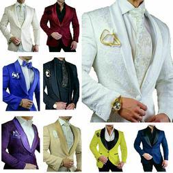 Vintage Men Suits Groom Jackets Blazers Slim Fit Jacquard Do