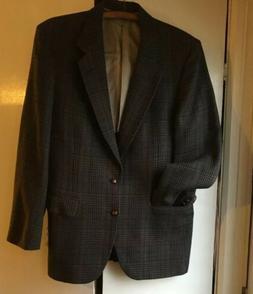 Vtg Johnny Carson Man In Wool 40 Reg Tweed Striped Blazer Su