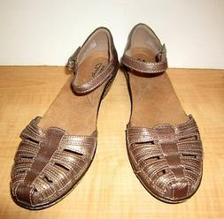Clarks Wendy Suite Sandals / Shoes ~ Pewter Leather ~ Size 8