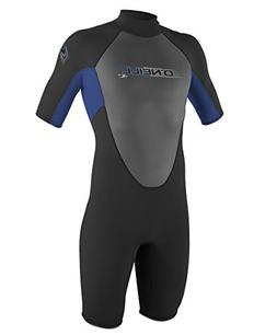 O'Neill Men's Reactor 2mm Back Zip Spring Wetsuit, Black/Pac