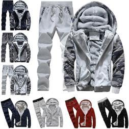 Winter Men Tracksuit Hooded Jacket Pants Set Fleece Hoodie S