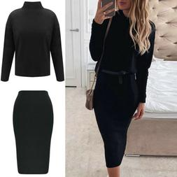 Women 2PCS Skirt Suits Long Sleeve Knitted Tops Ladies Slim