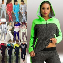Women 2pcs Tracksuit Hoodies Sweatshirt Pants Set Sport Jogg