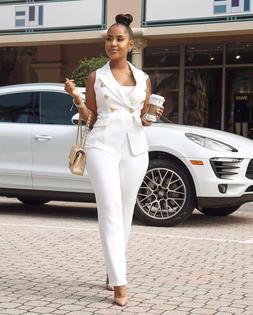 Women Fashion Vest Sleeveless Suit Coat+Solid Long Pants OL