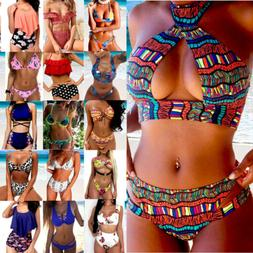 Women High Waist Push-up Padded Bra Bandage Bikini Set Swims