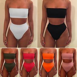 Women High Waisted Bikini Set Strapless Bandeau Swimwear Swi