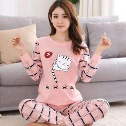 Women Lady Sleepwear Long Sleeve Pajamas Set Cat Printing Ho