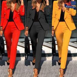 Women Long Sleeve Blazer Jacket Pants Suits Office OL Ladies