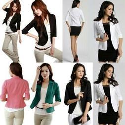 Women OL Work Office Jacket Coat Lady 3/4 Sleeve Casual Blaz