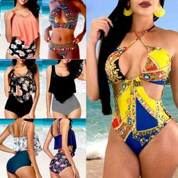 Women Push Up Padded Bra Bikini Set High Waist Swimsuit Bath