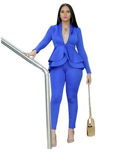 Women Ruffle 2pcs Set Long Sleeves Y-neck Solid Jacket Penci