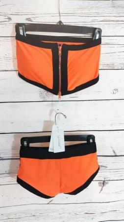 Women's 2 Piece Swim Suit. Bikini Memory Foam Orange & Black