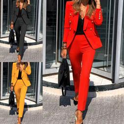 Women's Blazer Jacket Pant Suits Office Formal Uniform OL Wo