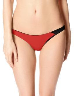 ASICS Women's Kanani Bikini Bottom, Small, Red/Black