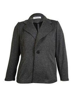Calvin Klein Women's Knit Sweater Blazer Jacket, 6P, Black/E