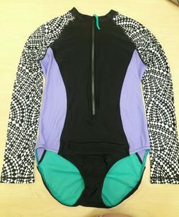 Speedo Women's Long Sleeves Suit, SIZE L Black/ Purple