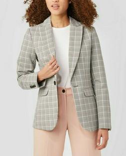 women s plaid blazer suit jacket gray
