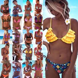 Women Swimwear Bandage Bikini Set Push-up Padded Bra Bathing
