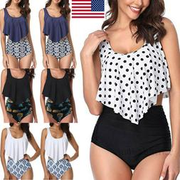 Women Two Pieces Bathing Suit Ruffled Top+High Waisted Botto
