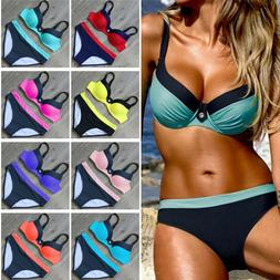 Womens Bikini Set Push Up Padded Bra Underwire Swimwear Swim