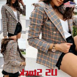 Womens Button Blazer Slim Work Formal Jacket Long Sleeve Pla