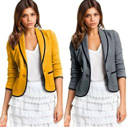Womens Casual Blazer Jacket Coat Ladies Slim Lapel Business