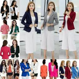 Womens Fashion Slim Solid Suit Blazer Jacket Coat Casual One