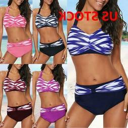 Womens High Waist Bikini Set Push Up Swimsuit Bathing Suit S