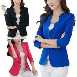 Womens Jacket Cardigan Blazer Long Sleeve Suit Office Coat B