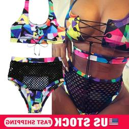 Womens Lace Up Bikini Set Push-up Padded Bra Mesh Swimsuit B