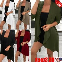 Womens Long Sleeve Front Open Casual Blazer Suit Jacket Coat