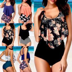 Womens Push Up Padded Bra Bikini Set High Waisted Swimsuit B