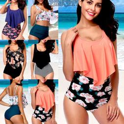 Womens Push Up Padded Bra Bikini Set High Waisted Swimsuit B