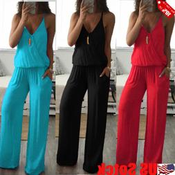 Womens Summer Sexy V Neck Sleeveless Jumpsuit Loose Wide Leg