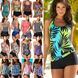 Womens Two Piece Push Up Padded Tankini Bikini Swimsuit Bath