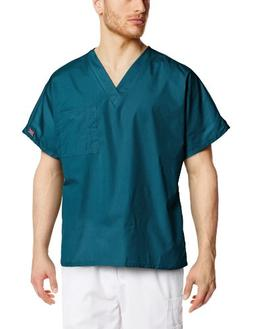 Cherokee Workwear Scrubs Unisex V-neck Tunic Top, Caribbean