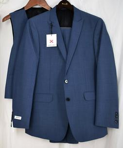x fit 3 piece solid blue suit