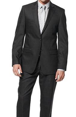 Calvin Klein X Extreme Slim Fit Brown Plaid Two Button Wool