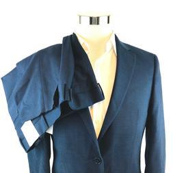x slim navy birdseye wool 2 button