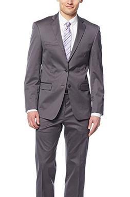 Calvin Klein X Extreme Slim Solid Gray Two Button Cotton Str